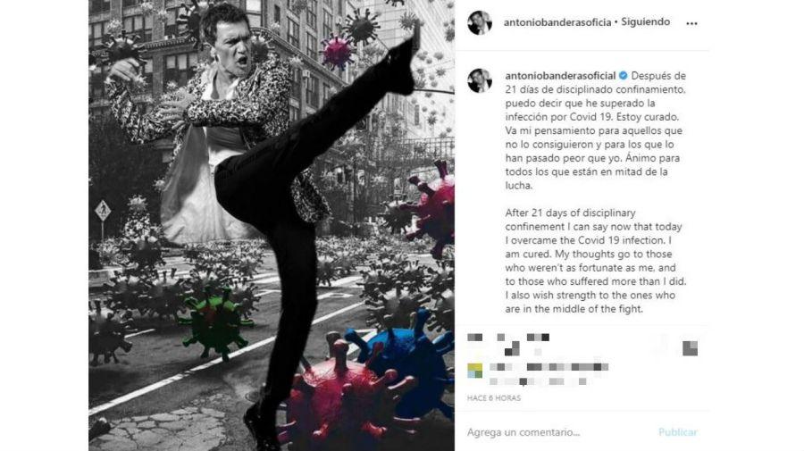 Antonio Banderas pateando el coronavirus