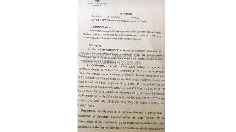 fallo de absolución Raúl Velaztiqui 0826