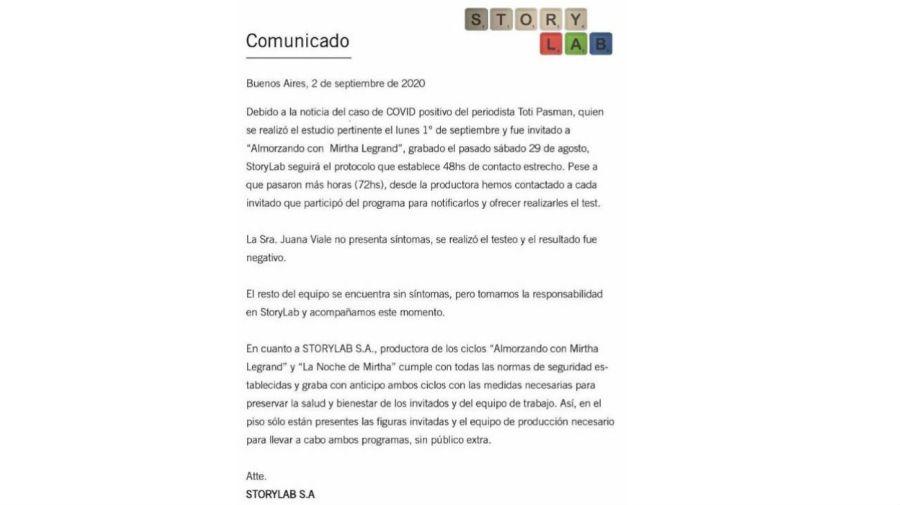 Comunicado de Story Lab tras el positivo de Toti Pasman