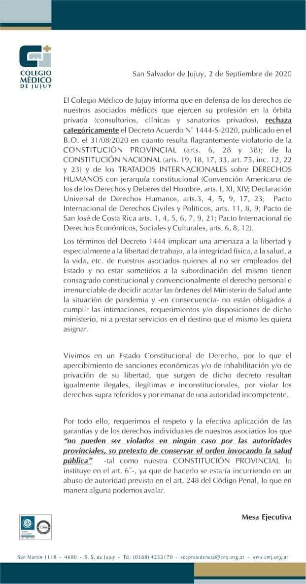 El comunicado del Colegio de Médicos de Jujuy