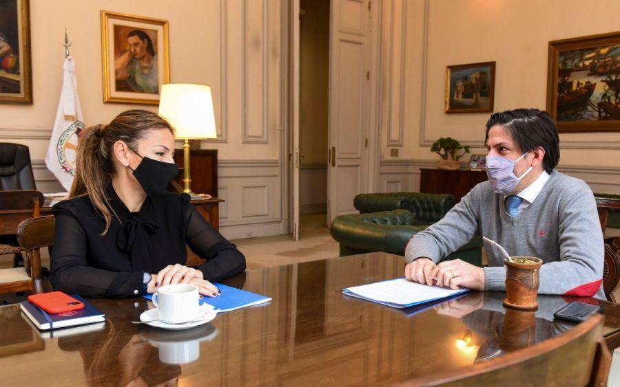 Los ministros de Educación, Nicolás Trotta y Soledad Acuña.