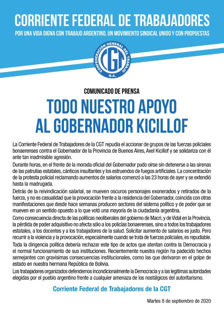 Comunicado de la Corriente Federal de Trabajadores por la movilización de la Bonaerense