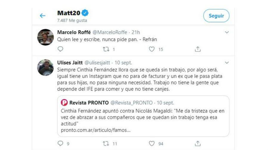 Matías Defederico contra Cinthia Fernández