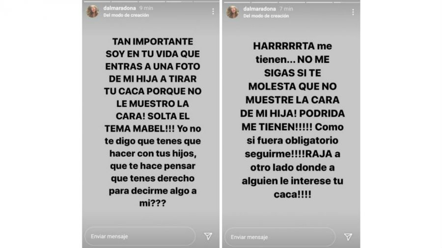 Dalma Maradona, furiosa con los haters