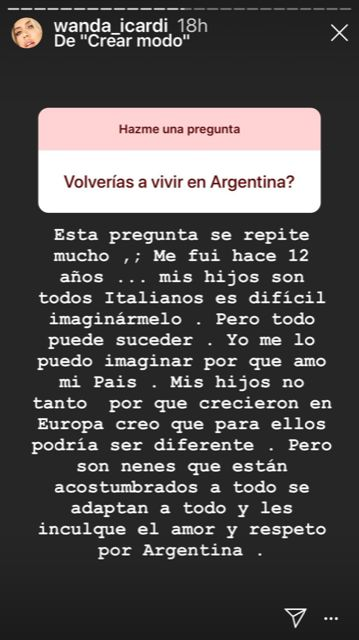 Wanda Nara habló de la denuncia y reveló sus deseos de volver a vivir en la Argentina