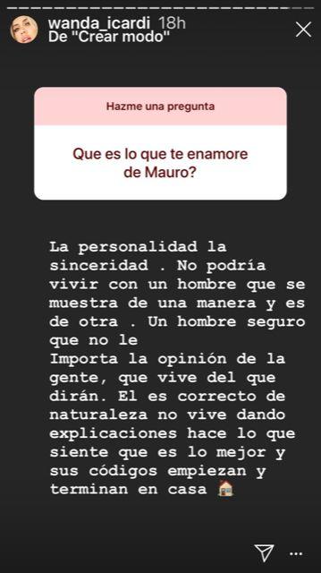 ¿Indirecta a Maxi López? Wanda Nara reveló que la enamora y enamoró de Mauro Icardi