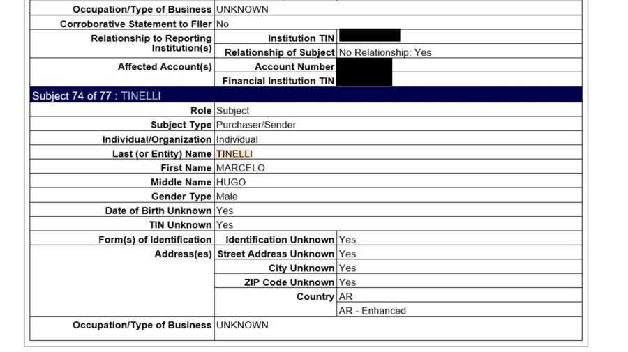 Extrato de reporte de operación sospechosa que menciona a Tinelli. Fuente FinCEN Files.
