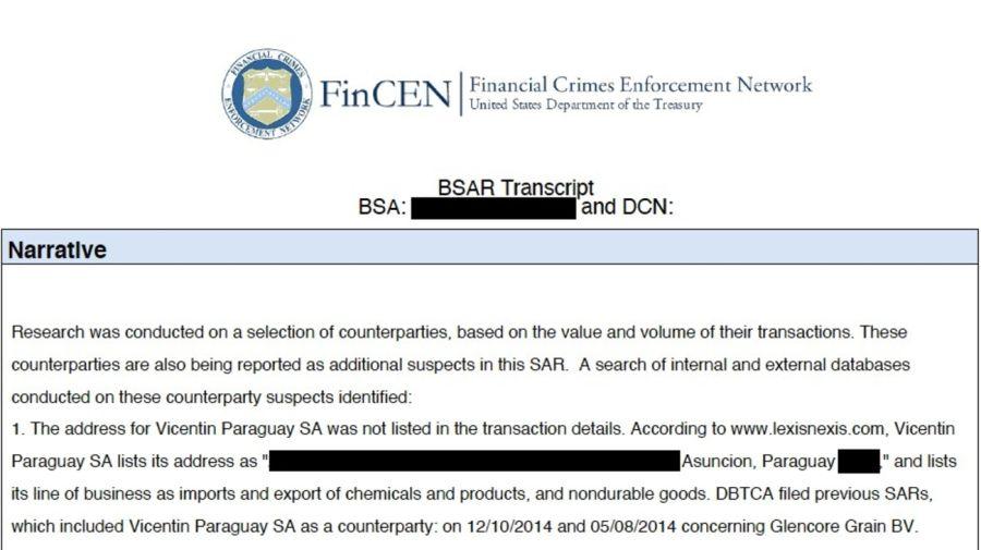Vicentin: Extracto de un reporte de operación sospechosa de la Unidad de Inteligencia del Departamento del Tesoro de EE.EE. Fuente: FinCENFiles.