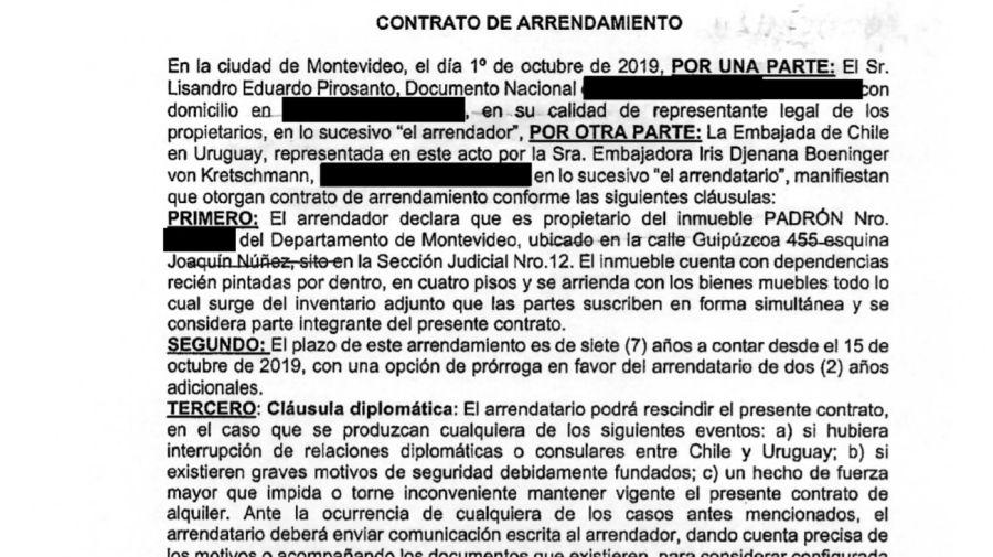 Contrato de alquiler del inmueble de Mascherano en Uruguay