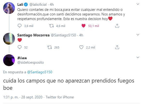 La reacción de Santiago Mocorrea tras el mensaje de Lali que confirma la separación