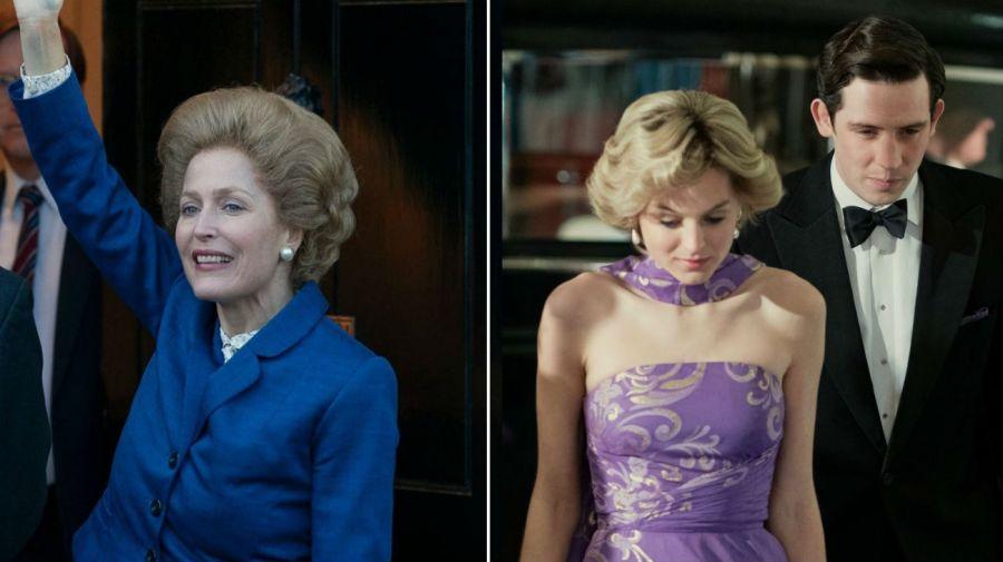 Margaret Thatcher (Gillian Anderson) y Princesa Diana (Emma Corrin)