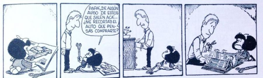 Mafalda leyendo Parabrisas