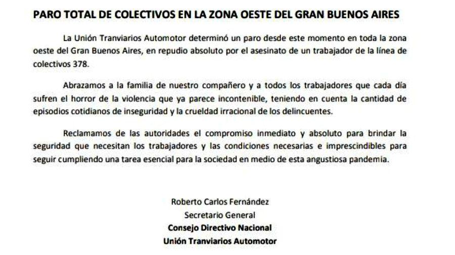 El comunicado de la UTA, disponiendo el paro por el asesinato del chofer de la línea 218 en La Matanza.