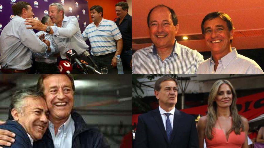 Rodolfo Suárez, en distintos momentos: con Cobos, Sanz, Cornejo y con su mujer, Fabiana Calleja.