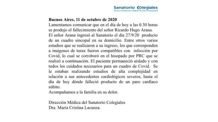 Comunicado oficial por el fallecimiento Hugo Arana
