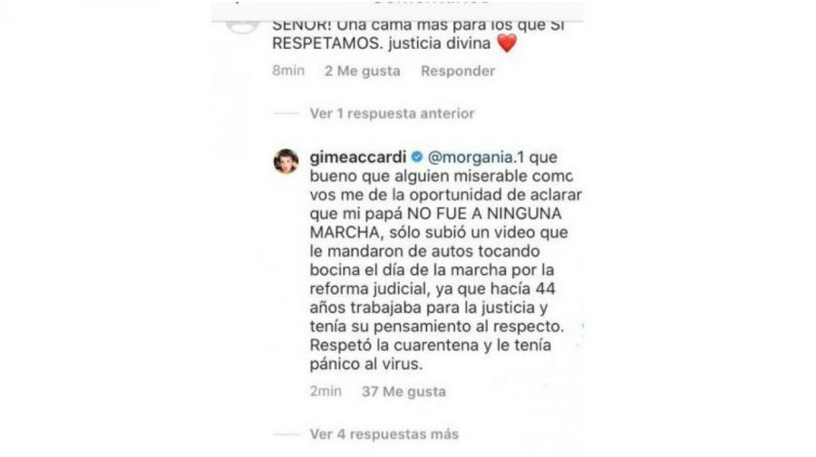 Gimena Accardi explotó contra un seguidor por un repudiable mensaje