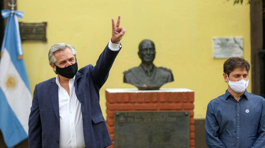 El presidente Alberto Fernández en el acto de la isla Martín García, por el 17 de octubre, Día de la Lealtad peronista.