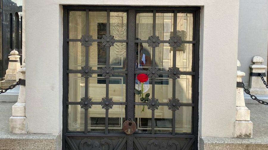 Una rosa sobre la bóveda de los Neuss.