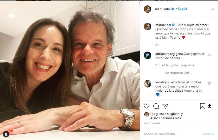María Eugenia Vidal a Quique Sacco en el día de su cumpleaños: