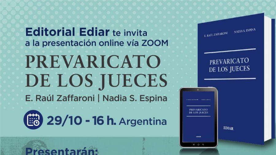 El anuncio con la presentación del libro de Zaffaroni