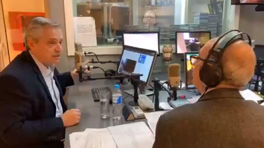 Alberto Fernández y Mario Pereyra, en Cadena 3 en julio de 2019.