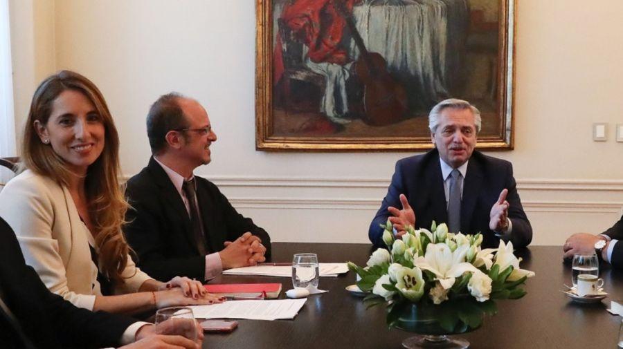 Cecilia Nicolini y el presidente Alberto Fernández.