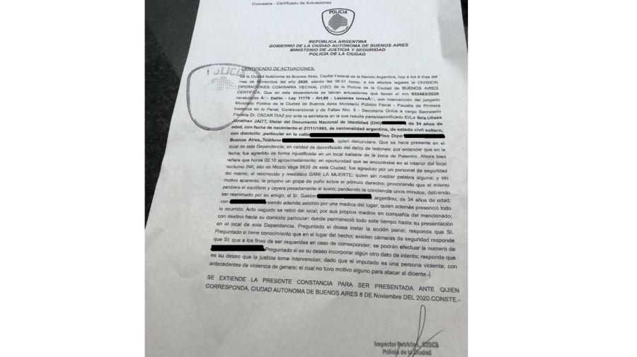 Denuncia policial Ulises Jaitt contra Dani La Muerte