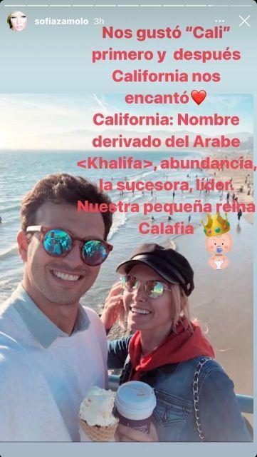 Sofía Zámolo reveló porqué llamó California a su hija