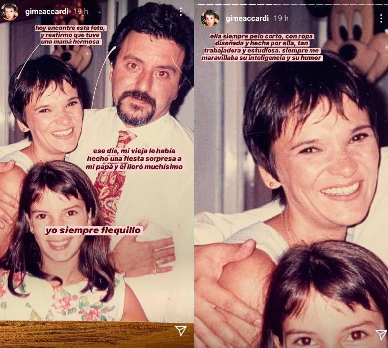 Gimena Accardi recordó a sus padres con una emotiva anécdota