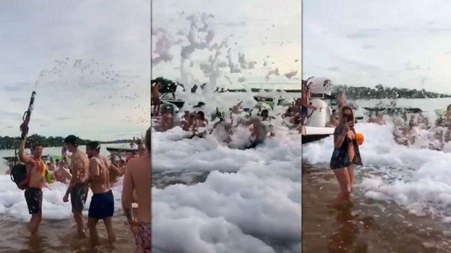 Una fiesta de la espuma que se celebró este fin de semana en Corriente.