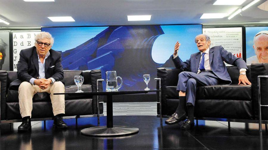 Juan José Sebreli y Marcelo Gioffré, en la entrevista con Jorge Fontevecchia.