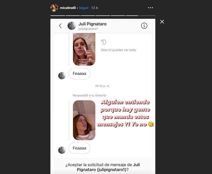 Mica Tinelli escrachó a un seguidor después de recibir una desagradable crítica
