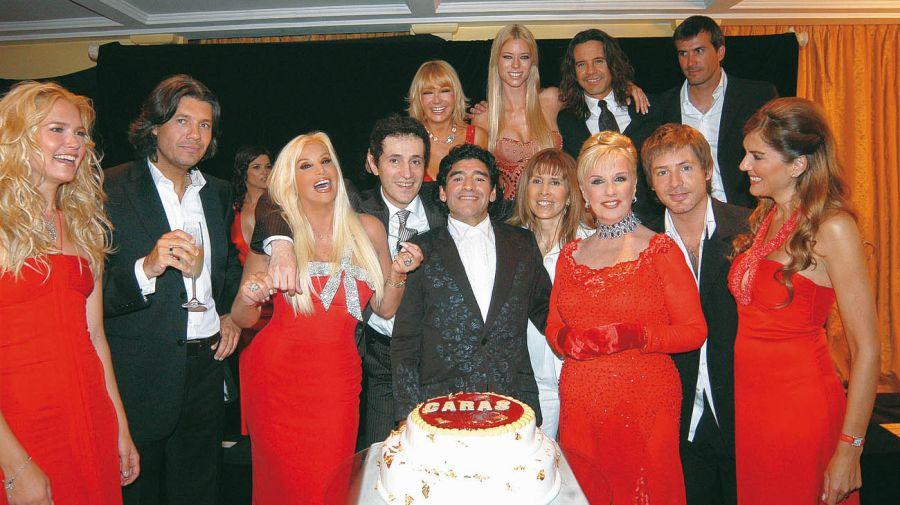 Diego Maradona en la fiesta de Caras