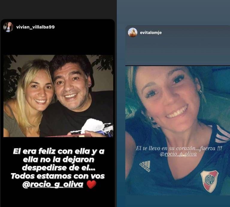 Los picantes mensajes de Rocío Oliva durante la despedida a Diego Maradona