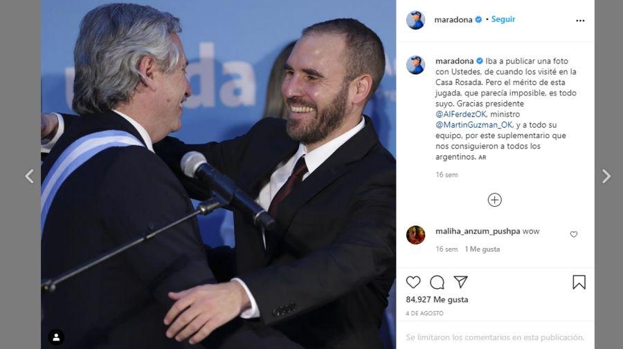 En redes. Apoyos de Maradona al impuesto a la riqueza y el acuerdo por la deuda.