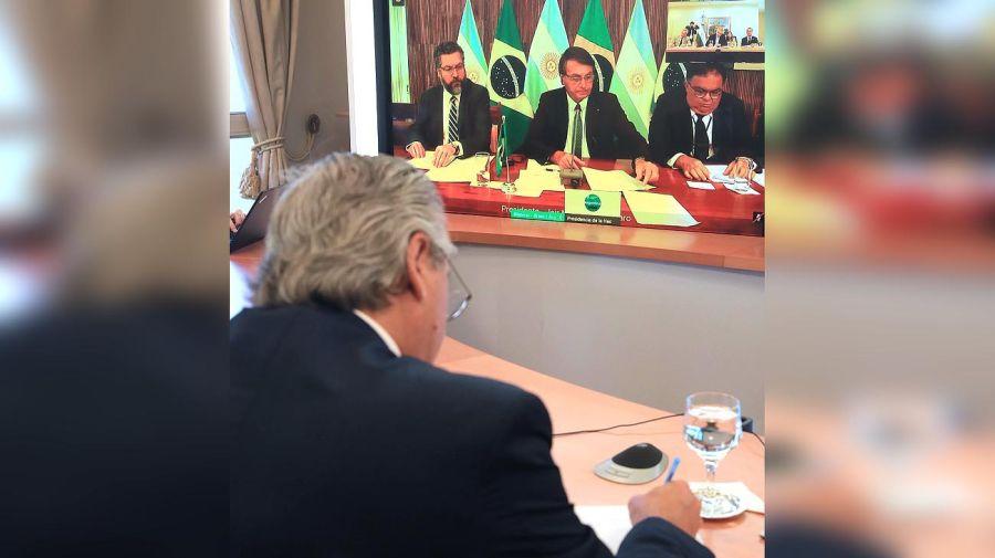 primer encuentro virtual de Fernández y Bolsonaro 20201130