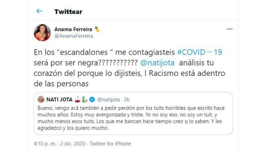 Mensaje de Anama Ferreira contra Nati Jota