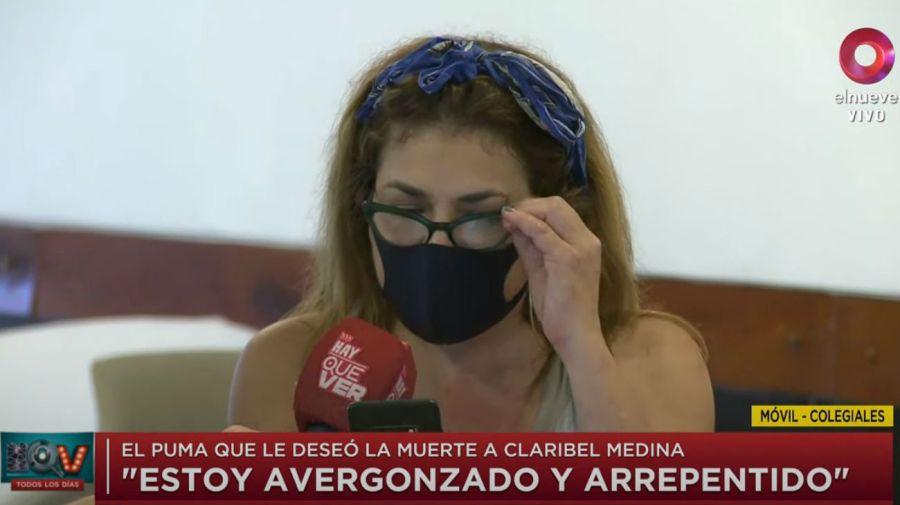 Mensaje de Santiago Socino a Claribel Medina