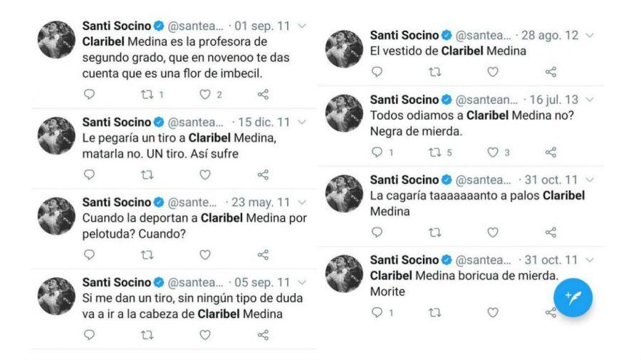 Mensajes de Santiago Socino a Claribel Medina