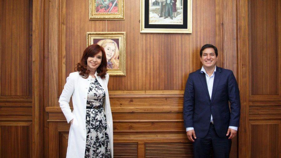 Cristina Kirchner y Aráuz Galarza, el candidato de Correa en Ecuador