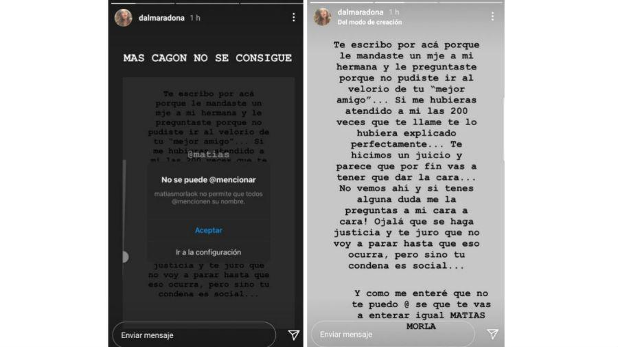 Dalma Maradona contra Matias Morla