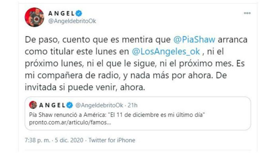 Mensaje Ángel de Brito sobre Pia Shaw como angelita