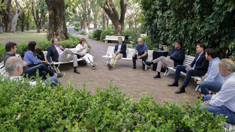 La vista de la reunión de los principales dirigentes del PRO en Olivos.