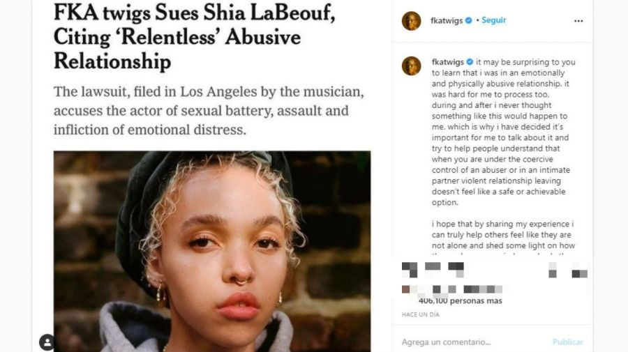 FKA twigs denunció legalmente a Shia LaBeouf