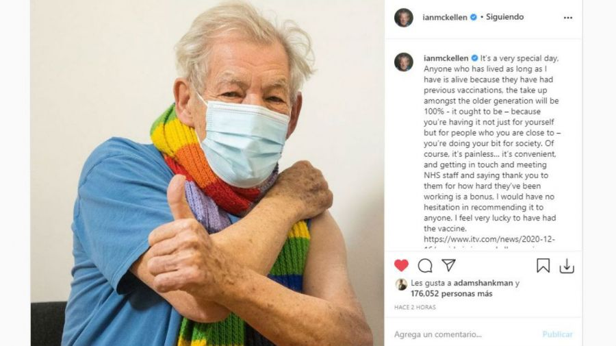 Ian McKellen se vacuna contra el Covid 19
