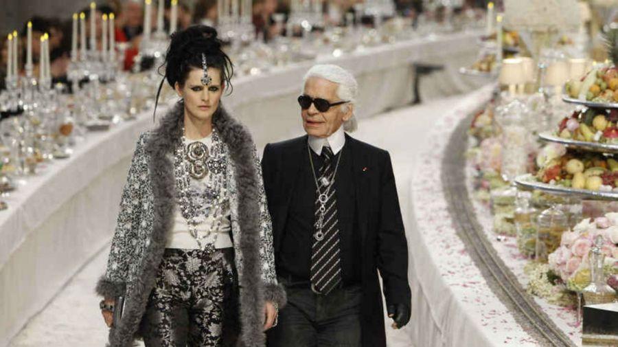 Stella Tennant y Karl Lagerfeld