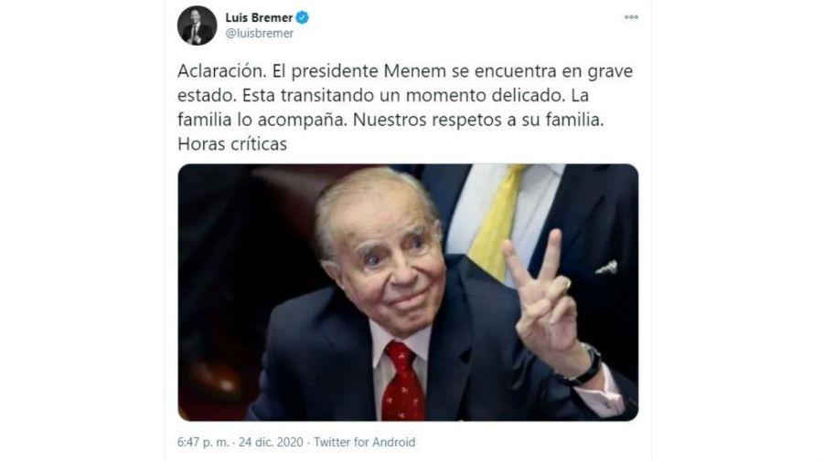 Aclaración Luis Bremer sobre Carlos Menem