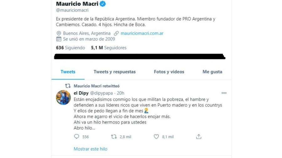 El hilo de El Dipy en Twitter contra el Gobierno que retuiteó Macri