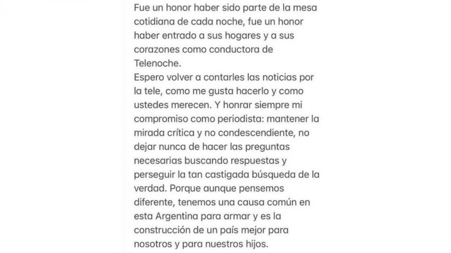 Despedida Maria Laura Santillan de Telenoche