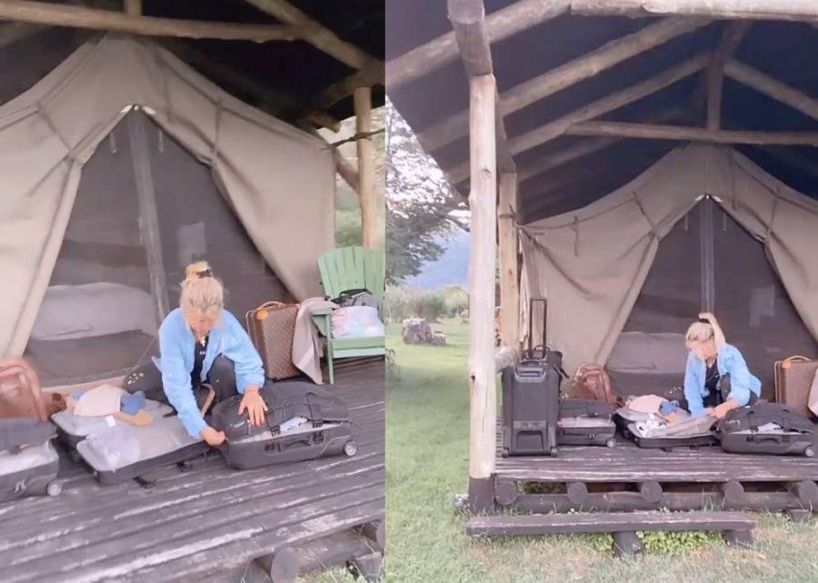 Las rústicas vacaciones de Wanda Nara: en avión privado y carpa
